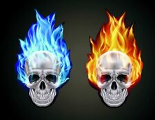 16cm Red Blue Set of 2 Burning Skull Stickers Car Window Fire Flames Skull Head