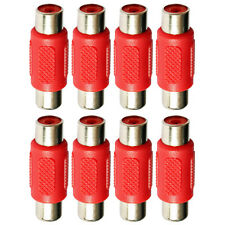 Single RCA Phono Female Socket Coupler Joiner Adaptor Connector Red x 8
