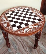 Wooden Chess Board Inlaid Carved Work Coffee Round Table Foldable Vintage Look