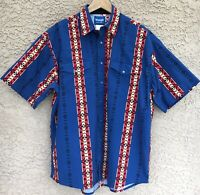 VTG Wrangler Men's Aztec Pearl Snap Short Sleeve Western Shirt Sz XL Bold Colors