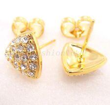Women Modern 18K Yellow Gold plated CZ Girl women Sparkle Luxury stud Earrings