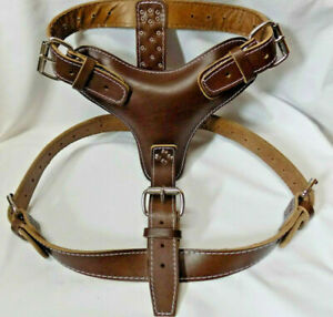 Plain Dark Brown Extra Large Heavy Duty Leather Dog Harness