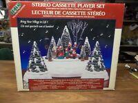 Vintage Lemax Christmas Village Set Stereo Cassette Player Xmas Tree Display IOB