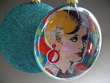 Anhänger sixties 60er Twiggy Popart retro türkis Vintage Weihnachtsanhänger