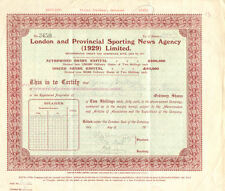 London Provincial Sporting News Agency > 1933 London England stock certificate