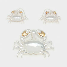 Crab Pendant Earrings SET Starfish Sea Life SILVER GOLD Beach Surfer Jewelry