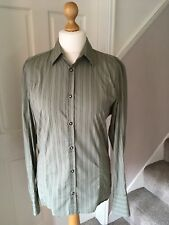 """Mens Diesel cotton green striped long sleeve fitted casual shirt Large 44"""" chest"""