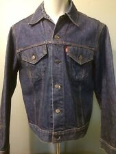 Vtg Levis Denim Jean Jacket Indigo Trucker 70s 2 Pocket Mens 42 USA Small E 80s