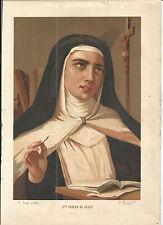 Litografia antigua de Santa Teresa andachtsbild santino holy card santini