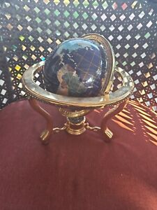 Beautiful World Globe with Stand Compass  Pearl +Map in good shape
