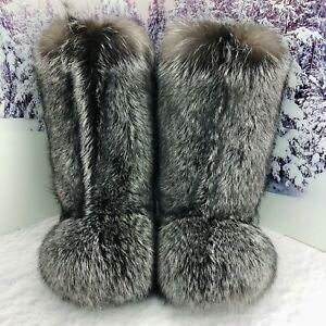 Silver Fox Fur Boots for Men, Winter Fur Boots, Moutons, Handmade by LITVIN