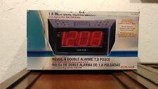 "AM/FM ALARM CLOCK RADIO WITH JUMBO 1.8"" LED DISPLAY BATTERY BACKUP NEW CR41803"