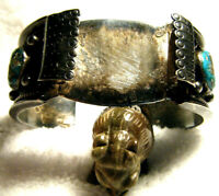 LARGE HEAVY VINTAGE OLD PAWN TURQUOISE NAVAJO 925 STERLING WATCH CUFF BRACELET