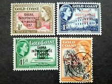 Gold Coast 1957 Queen Elizabeth II Overprint Ghana Independence - 3v MLH&1v Used