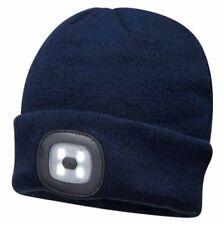 portwest led cabeza luz azul marino beanie 150 lúmenes sombrero usb carga antorc