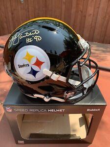 Jack Lambert HOF 90 Signed Full Size Pittsburgh Steelers Speed Rep Helmet BAS