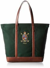 Polo Ralph Lauren Hunter Green Elevated Canvas Tote + Brown leather trim, NWT