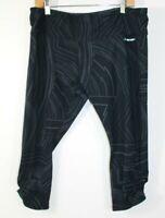 $70 Brooks Greenlight Capri Womens XL Running Tights Black Gray Print UPF 50+