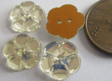 39 Vintage German Glass 11mm Clear 5-Petal Flat Flower Sew-on Stones