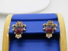 "Vintage Purple Rhinestone Screw Back Earrings, Victorian Themed, 1970's, 1"""