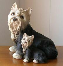 Cute Ceramic Yorkshire Terrier Mama & Baby Yorkie Dog Figurine