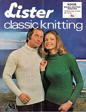 """~ Vintage 1970's Lister Knitting Pattern For Adults' Cabled Sweater ~ 34"""" ~ 44"""""""