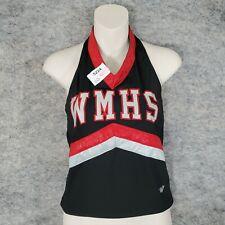 Varsity Cheer Top Halter Juniors Large 34 Black Red Gray WMHS Sparkle Stretch
