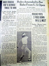 1948 newspaper Woman BABE DIDRIKSON ZAHARIAS banned from US OPEN GOLF Tournament