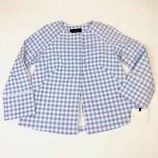Victoria Beckham Target Girls Size Small Sky Blue Gingham Twill Spring Jacket