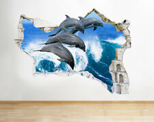 Q501 Dolphins Sea Bedroom Living Smashed Wall Decal 3D Art Stickers Vinyl Room