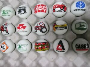 15 Farm Tractor logo marbles 1 inch size