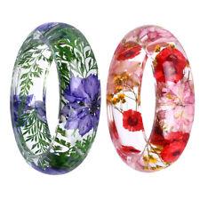 2Pcs Charm Cuff Bangle Clear Resin Incased Resin Daisy Dry Flowers Bracelet