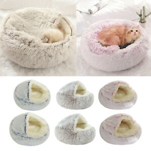 Pet Bed- Round Soft Plush Nest Cave Hooded Cat Bed for Dogs & Cats, Faux Fur