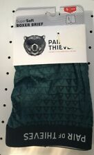 "Pair of Thieves Men's Super soft Boxer Brief S 28-30"" Green triangles New"
