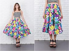 Vintage 80s Vivid Floral Print Skirt Colorful Bold Yellow Flower Full A Line M L