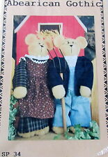 "Abearican Gothic 21"" Teddy bear Dianna Marcum Craft Pattern Ma & Pa w/ clothes"