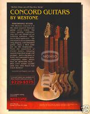 WESTONE CONCORD GUITAR PINUP AD vtg 80's electric II