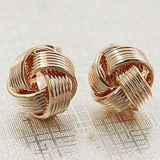 18K GP Rose Gold Plated Knot Twine Flower Ball Stud Earrings E303