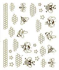One Stroke Sticker,Tiere,Biene,Gold,Tattoo, Aufkleber  Nr.1396