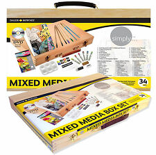 DALER ROWNEY MIXED MEDIA WOODEN BOX SET- PAINT, BRUSHES, PASTELS, PENCILS 34 PCS
