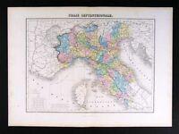 1877 Migeon Map - N. Italy - Italia Rome Milan Venice