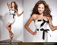 White Bodycon Mini Evening Cocktail Party Dress with Two Black Ribbons T-0002