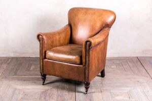 VINTAGE STYLE LEATHER ARMCHAIR TAN LEATHER DISTRESSED UPHOLSTERY CHAIR SEAT