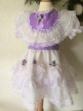 Vintage Sheer Purple White Girls Princess Party Dress Floral Nylon