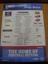 25/04/2009 couleur teamsheet: Birmingham City V Preston North End (plié). Trust