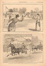 Ladies' Lawn Tennis, Staten Island, Horse Racing Trotters, 1883 Antique Print