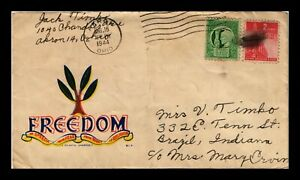 DR JIM STAMPS US FREEDOM PATRIOTIC WWII CACHET COVER 1944 AKRON OHIO