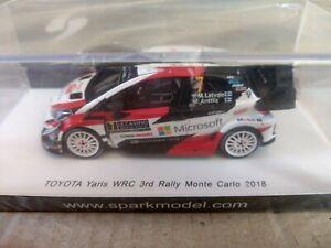 1/43 Scale Spark Toyota Yaris WRC  Rally Monte Carlo 2018 Latvala