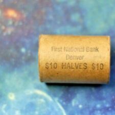 $10.00 Silver Liberty Walking Half Roll W/ End Coins Unc From The Bank Of Denver