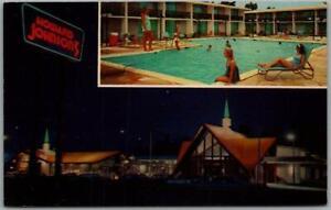 Lumberton, NC Postcard HOWARD JOHNSON MOTOR LODGE Girl on Pool Diving Board